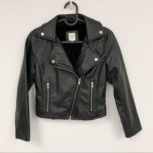 Gap Faux Leather Moto Biker Jacket fur lined sz M